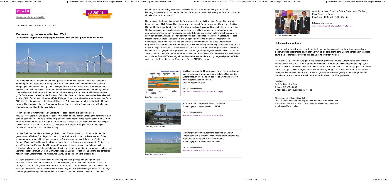 Pressemitteilung der CAU zum Projektstart von ANGUS+